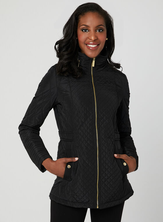 Quilted Stand Collar Coat, Black