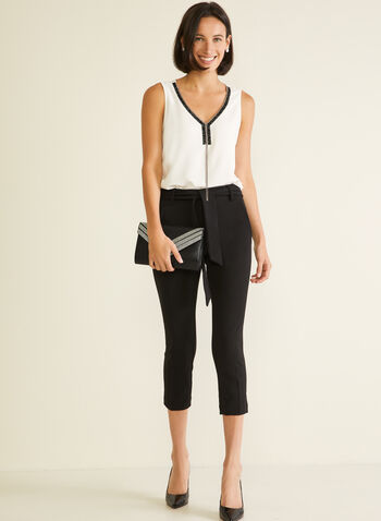 Slim Leg Pull-On Capris, Black,  capris, pull-on, crepe, slim leg, belt, spring summer 2020