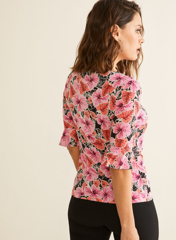 Floral Print Bell Sleeve Top, Red