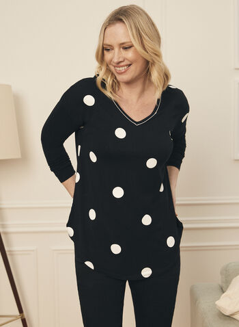 Polka Dot Print Tunic Tee, Black,  top, t-shirt, tunic, polka dot, long sleeves, v-neck spring summer 2021