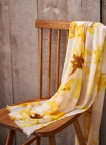 Foulard à imprimé floral et détails métalliques, Jaune,  foulard, printemps été 2021, imprimé floral, tissu léger, oblongue, insertion métallique