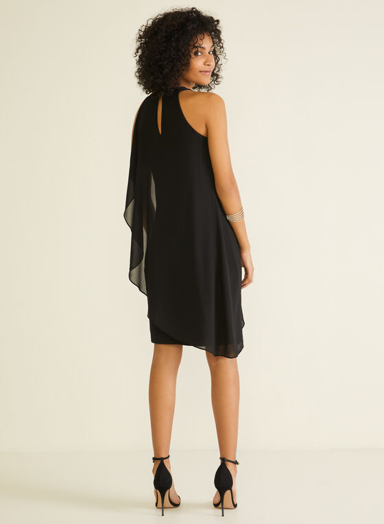 Cleo Neck Chiffon Dress, Black