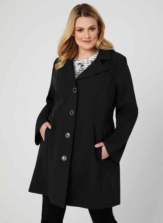 Manteau imperméable à boutons, Noir