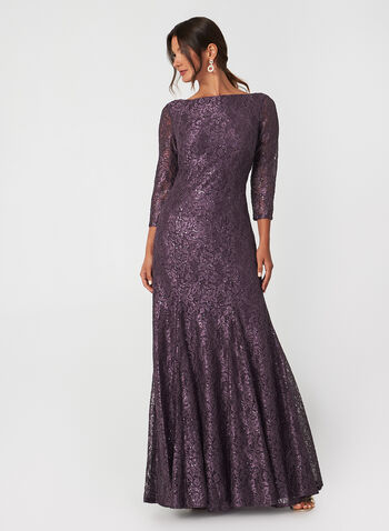Sequin Lace Dress, Purple, hi-res,  fall winter 2019, sequin lace, 3/4 sleeves, fully lined