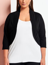 3/4 Sleeve Triple Pleat Knit Bolero, Black, hi-res