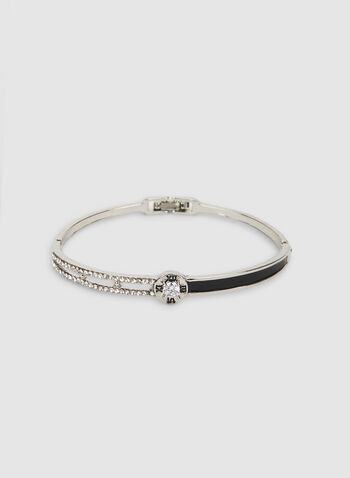 Bangle Bracelet, Black, hi-res,  bangle, rhinestone, metallic, bracelet, fall 2019, winter 2019