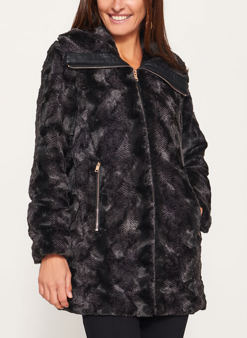 Novelti - Ombré Faux Fur Coat, Black, hi-res