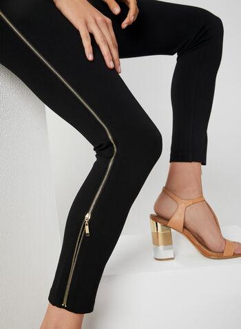 Legging à bordure zippée, Noir, hi-res,  automne hiver 2019, Point de Rome, jambe étroite, à enfiler, taille élastique