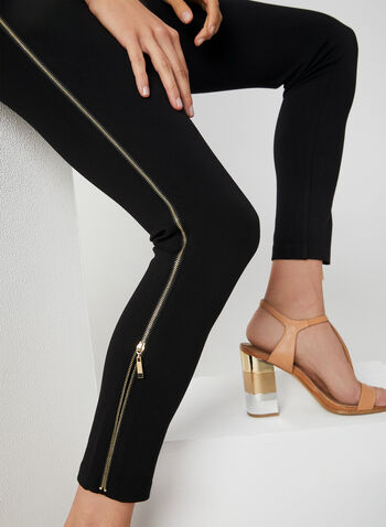 Zipper Trim Leggings, Black, hi-res,  leggings, Ponte de Roma, slim leg, pull-on, elastic waist, zipper trim, fall 2019, winter 2019