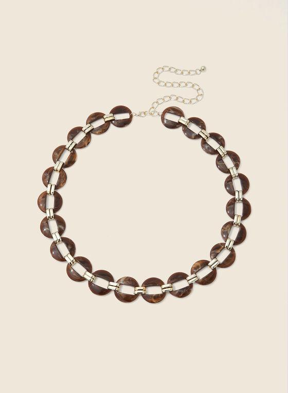 Resin & Metallic Chain Belt, Brown