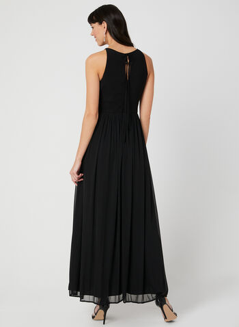 Crystal Sash Chiffon Overlay Gown, Black, hi-res,  long dress, evening gown, halter neck dress, halter top dress, keyhole neckline, crystal dress, wide sash dress, maxi dress