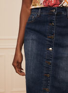 Button Front Denim Straight Skirt, Blue