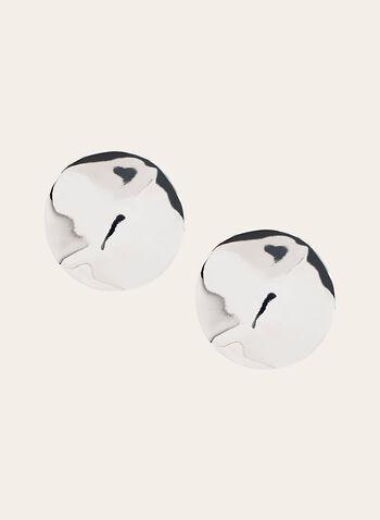 Clous d'oreilles ronds métallisés, Argent, hi-res