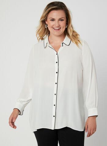 Blouse chemisier à détails contrastants, Blanc cassé, hi-res,  blouse, col claudine, manches longues, contrastant, crêpe, automne hiver 2019