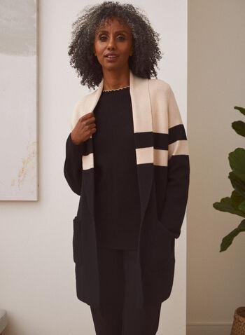 Cardigan mi-long à poches, Noir,  cardigan, col châle, tricot, manches longues, ouvert, coupe mi-longue, blocs couleur, poches, bandes contrastantes, automne 2021