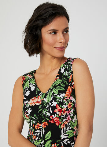 Floral Print Day Dress, Black, hi-res