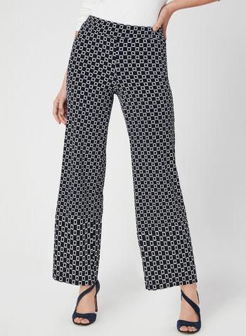 Pantalon coupe moderne à motif géométrique, Bleu, hi-res,  pantalon, pull-on, moderne, géométrique, jambe large, jersey, automne hiver 2019