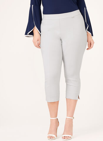 Pull-On Straight Leg Bengaline Capri Pant, Grey, hi-res