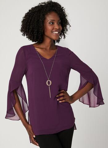 Chain Detail Chiffon Blouse, Purple, hi-res