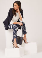 Floral Print Slim Leg Pants, Blue, hi-res
