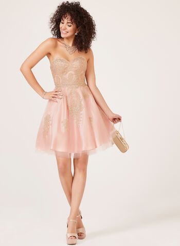 Strapless Fit & Flare Dress, Pink, hi-res