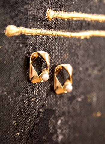 Boucles d'oreilles torsadées à perle, Blanc cassé,  accessoire, bijou, boucles d'oreilles, effet torsadé, sur tige, doré, perle, printemps été 2021