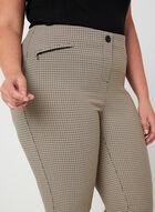 Pantalon coupe cité motif pied-de-poule, Brun, hi-res