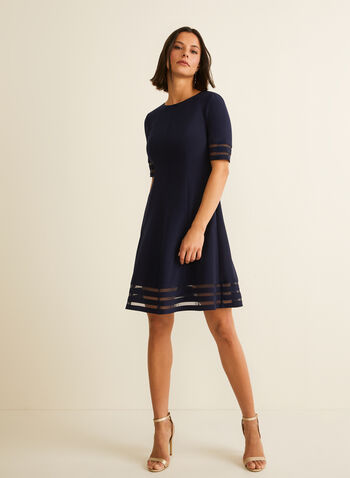 Net Detail Fit & Flare Dress, Blue,  cocktail dress, dress, fit & flare dress, short dress, net, spring 2020, summer 2020