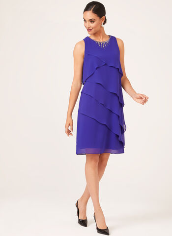 Embellished Neck Tiered Dress, Blue, hi-res
