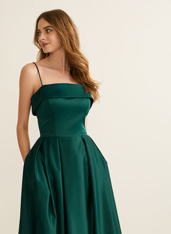 Foldover Satin Ball Gown, Green,  prom dress, ball gown, straight across, spaghetti strap, satin, crinoline, pockets, open back, spring summer 2020