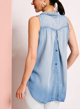Button Down Split Back Blouse, Blue, hi-res