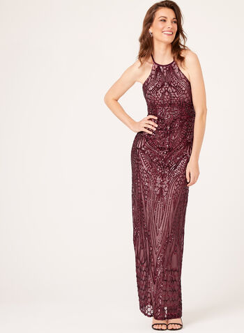 Sequin Embellished Halter Neck Gown, , hi-res