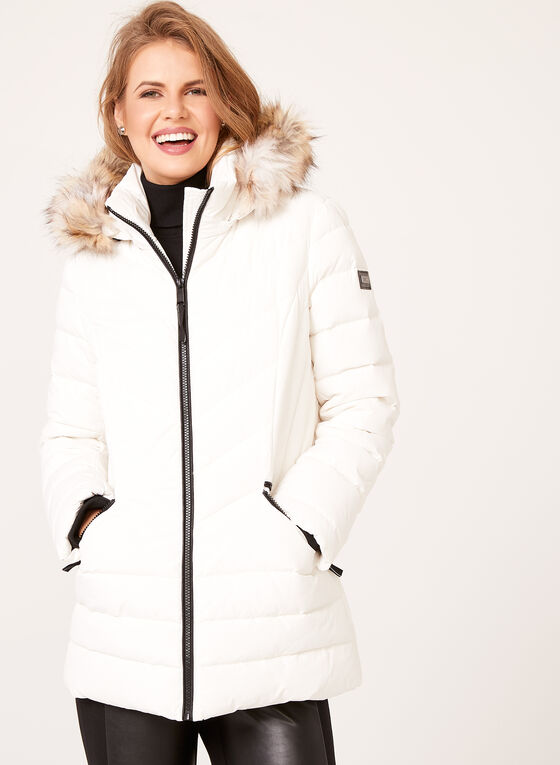 Novelti - Faux Fur Trim Quilted Down Coat, White, hi-res