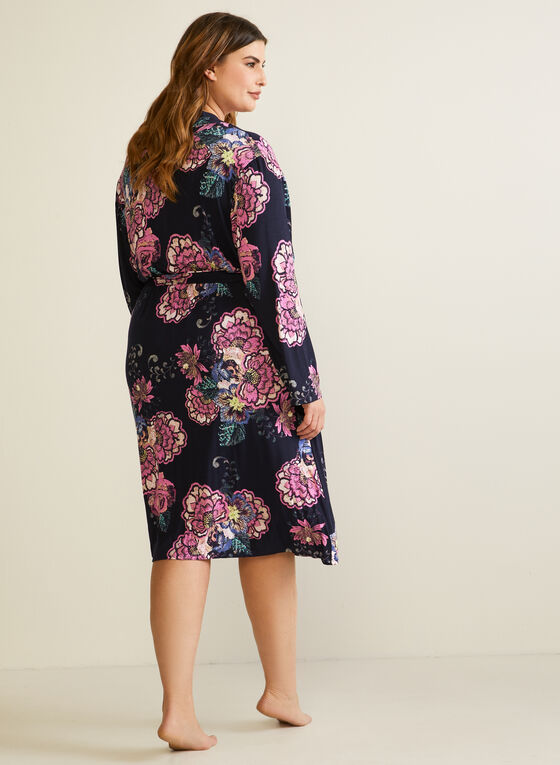 Floral Print Nightshirt & Robe, Blue