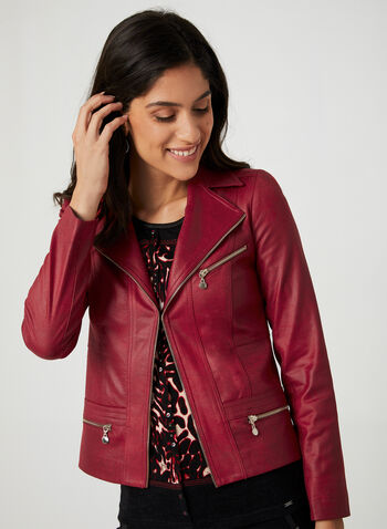 Vex – Faux Suede Moto Jacket, Red,  edge-to-edge jacket, edge-to-edge blazer, open front blazer,faux suede blazer