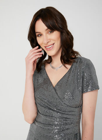 Short Sleeve Sequin Dress, Silver,  evening dress, evening gown, short sleeves, sequins, fall 2019, winter 2019