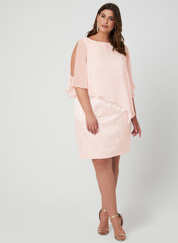 Brocade Poncho Dress, Pink, hi-res,  Spring 2019, short dress, cocktail dress cold-shoulder