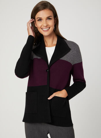 Colour Block Cardigan, Black, hi-res