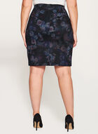 Floral Print Ponte Pencil Skirt, Black, hi-res