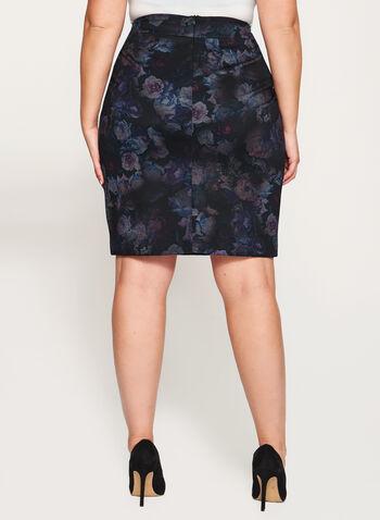 Floral Print Ponte Pencil Skirt, , hi-res
