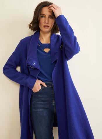 Carré Noir - Manteau en laine bouillie, Bleu,  automne hiver 2019, manteau, laine bouillie, Carré Noir, fermoir mousqueton, croisé, Canada