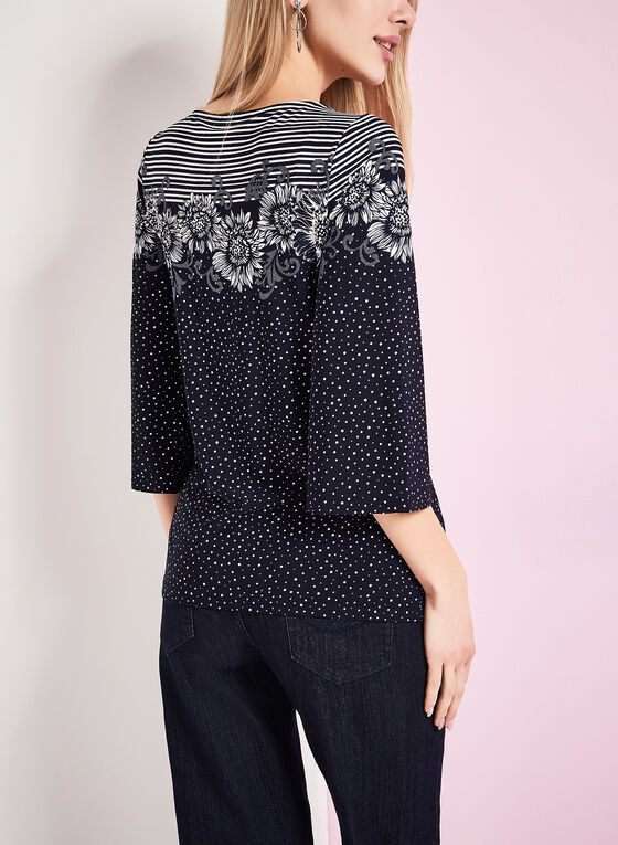 3/4 Sleeve Dot & Floral Print Top, Blue, hi-res