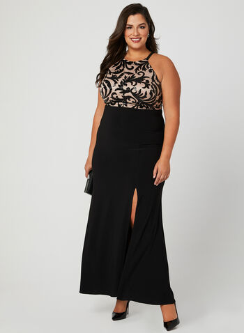 Sequin Bodice Jersey Gown, Black, hi-res