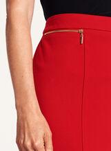 Jupe crayon avec zips dorés décoratifs, Rouge, hi-res