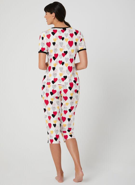 Hamilton - Heart Print Pyjama Set, White, hi-res