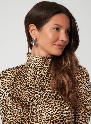 Leopard Print Long Sleeve Top, Brown,  top, long sleeve, leopard, animal motif, jersey, fall 2019, winter 2019