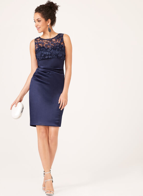 Jessica Howard - Illusion Neck Satin Skirt Dress, Blue, hi-res