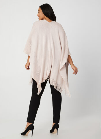 Echo New York - Fringed Pointelle Poncho, Pink,  fall winter 2019, knit, fringed hem, pointelle knit, pashmina, ruana