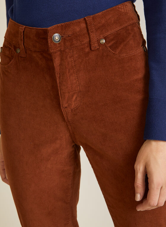 Corduroy Straight Leg Denim Pants, Brown