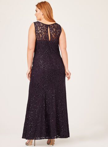 Chiffon Poncho Sequin Lace Maxi Gown Duo, Purple, hi-res